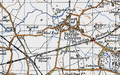 Old map of Steeple Claydon in 1946