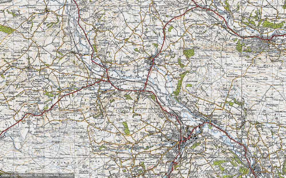 Old Map of Historic Map covering Airedale in 1947