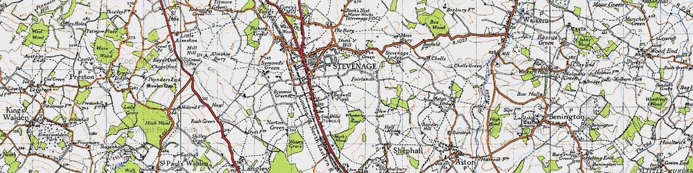 Old map of Stevenage in 1946