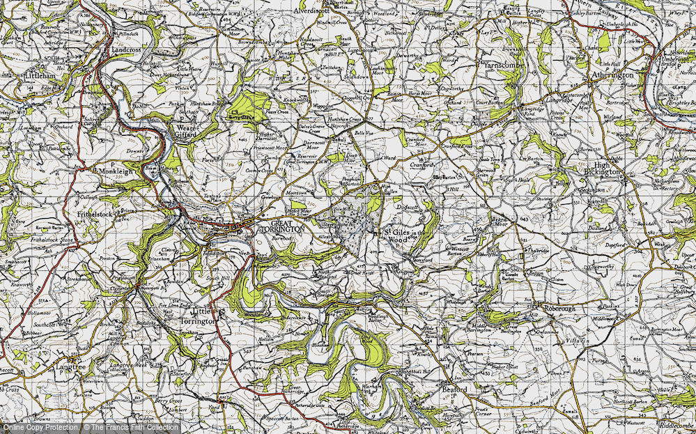 Old Map of Historic Map covering Allin's Week in 1946