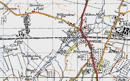 Old map of Steventon in 1947