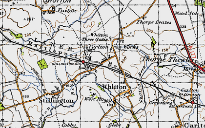 Old map of Whitton Three Gates in 1947