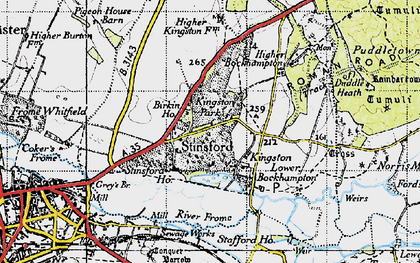 Old map of Stinsford in 1945
