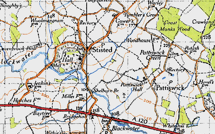 Old map of Stisted in 1945