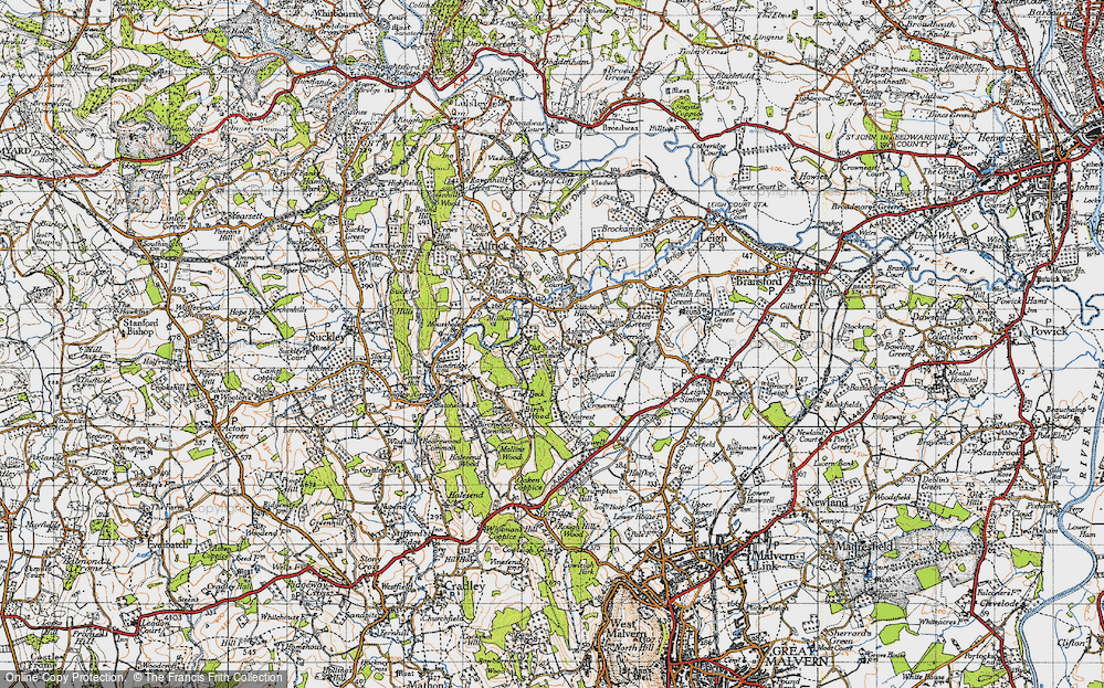 Old Map of Historic Map covering Ashcroft Ho in 1947