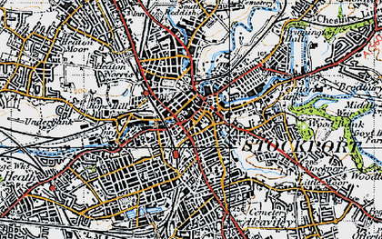 Old map of Stockport in 1947