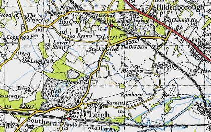 Old map of Tips Cross in 1946