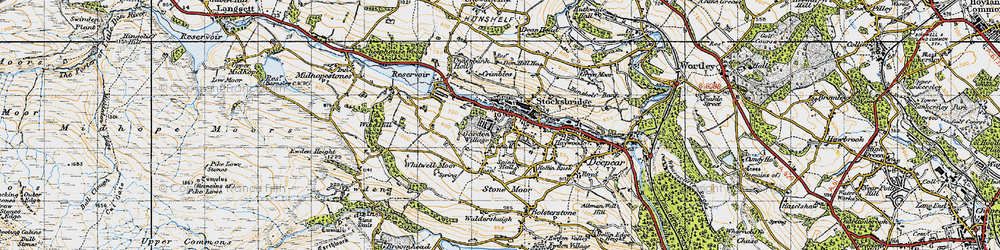 Old map of Whitwell Moor in 1947