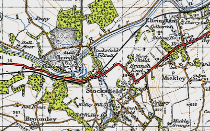 Old map of Stocksfield in 1947
