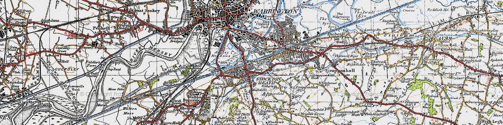 Old map of Stockton Heath in 1947