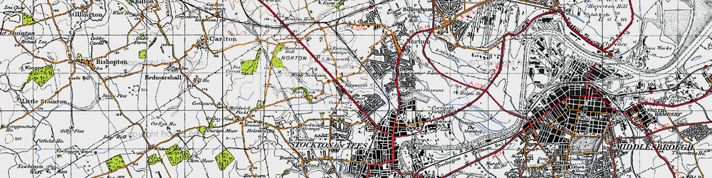 Old map of Stockton-on-Tees in 1947