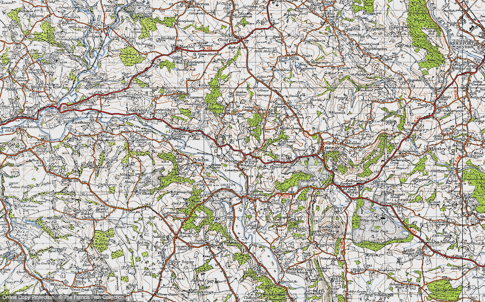 Old Map of Stockton on Teme, 1947 in 1947