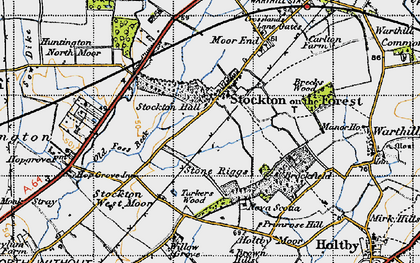 Old map of Old Foss Beck in 1947