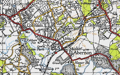 Old map of Stoke D' Abernon in 1945