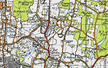 Old map of Stoke Poges in 1945