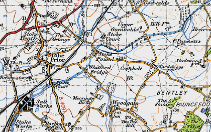 Old map of Whitford Bridge in 1947