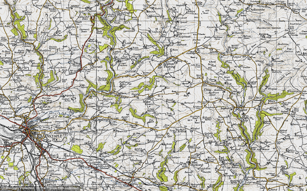 Old Map of Historic Map covering Yarde in 1946
