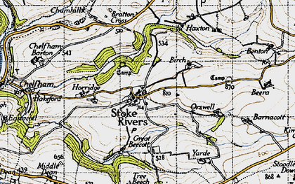 Old map of Yarde in 1946