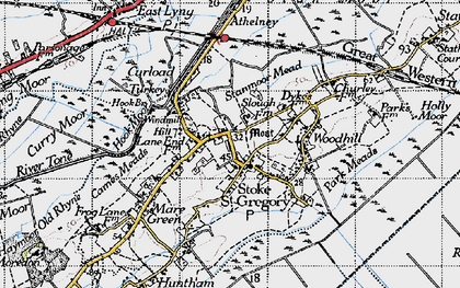 Old map of Stoke St Gregory in 1945