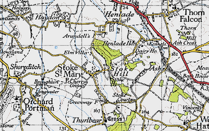 Old map of Stoke St Mary in 1946