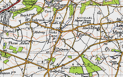 Old map of Stoke St Michael in 1946
