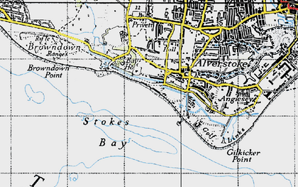 Old map of Stokes Bay in 1945