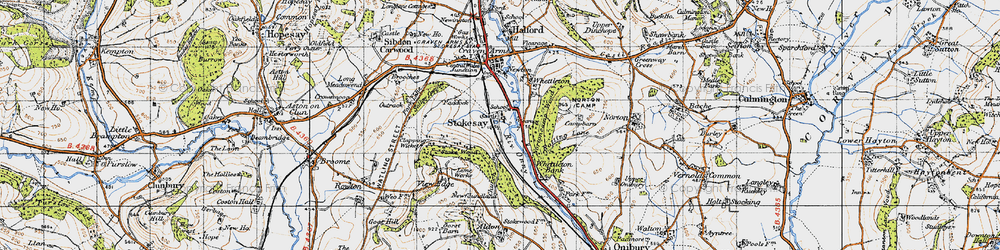 Old map of Stokesay in 1947