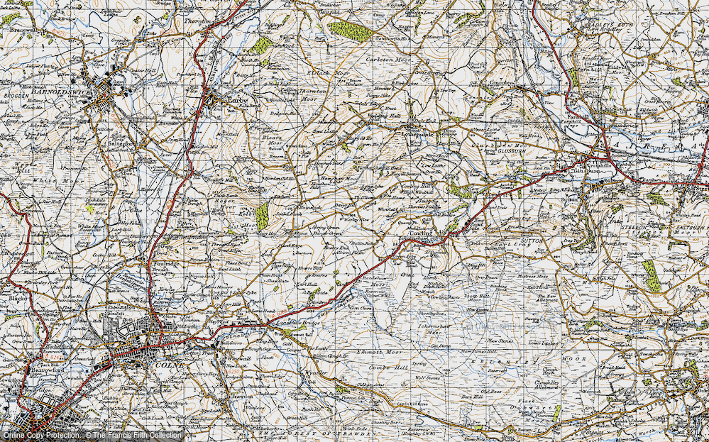 Old Map of Historic Map covering Laneshaw Resr in 1947