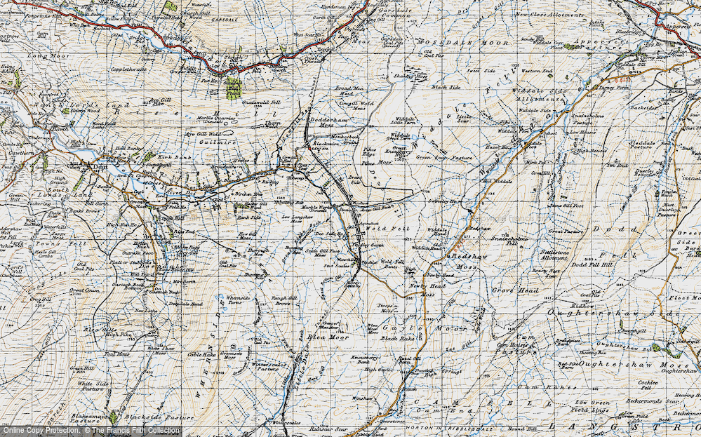 Old Map of Historic Map covering Artengill Beck in 1947