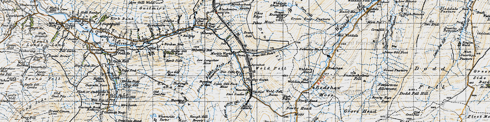 Old map of Widdale Great Tarn in 1947