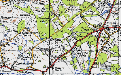 Old map of Stonehill in 1940