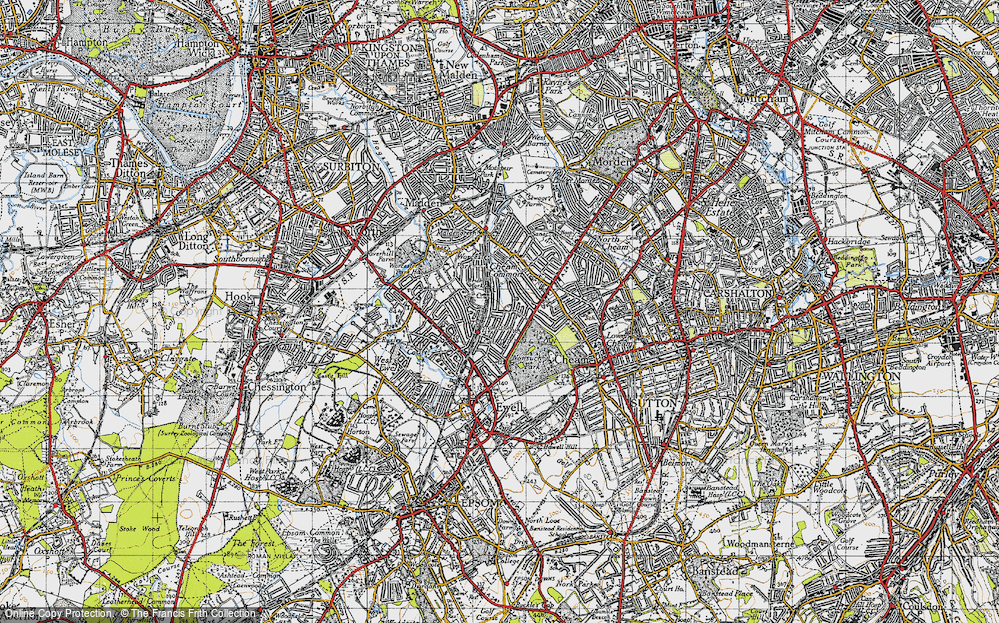 Old Map of Stoneleigh, 1945 in 1945