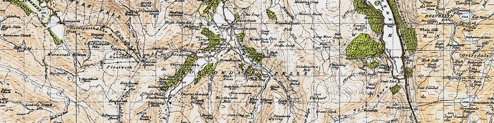 Old map of White Crag in 1947