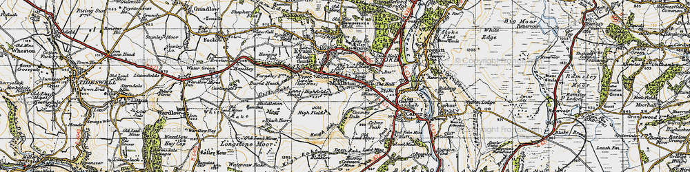 Old map of Stoney Middleton in 1947