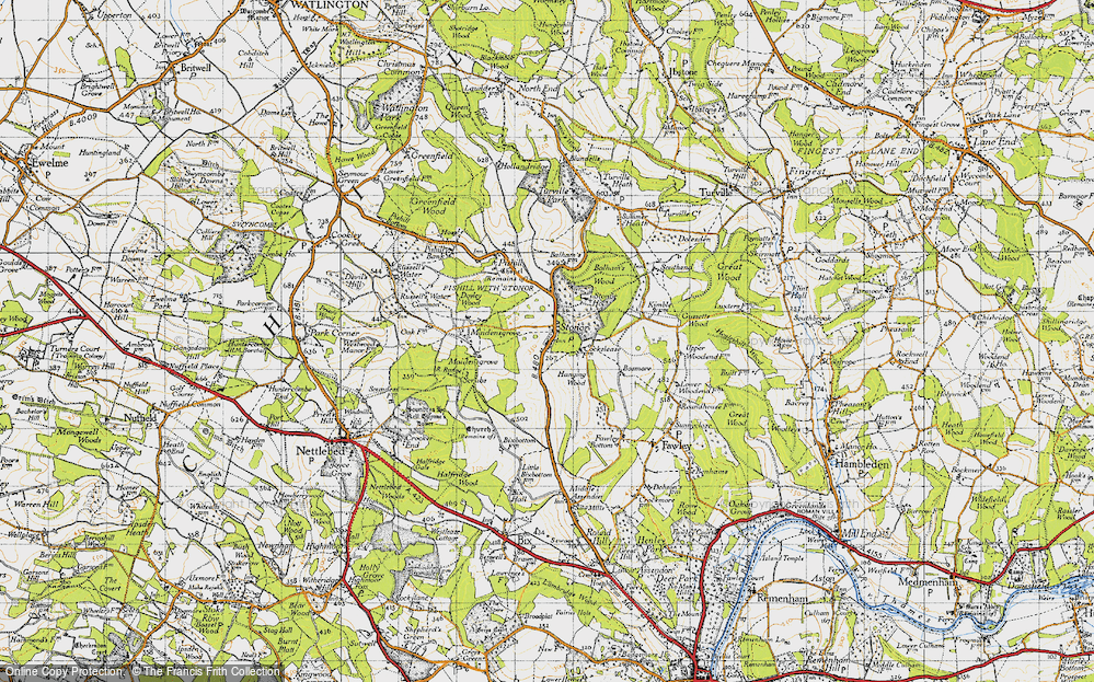 Old Map of Historic Map covering Balhams Farm Ho in 1947