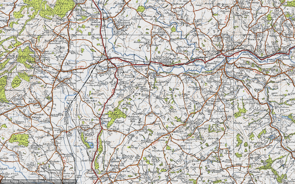 Old Map of Historic Map covering Wood Sutton in 1947