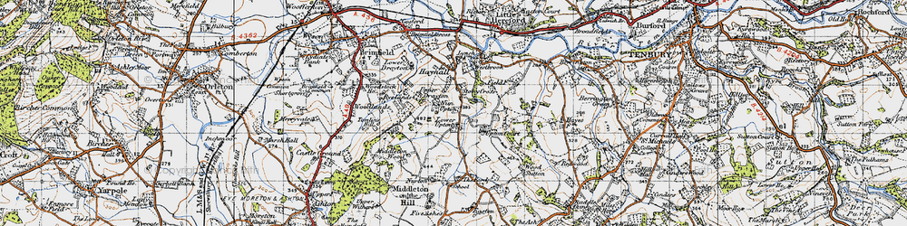 Old map of Wood Sutton in 1947