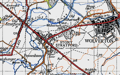 Old map of Stony Stratford in 1946