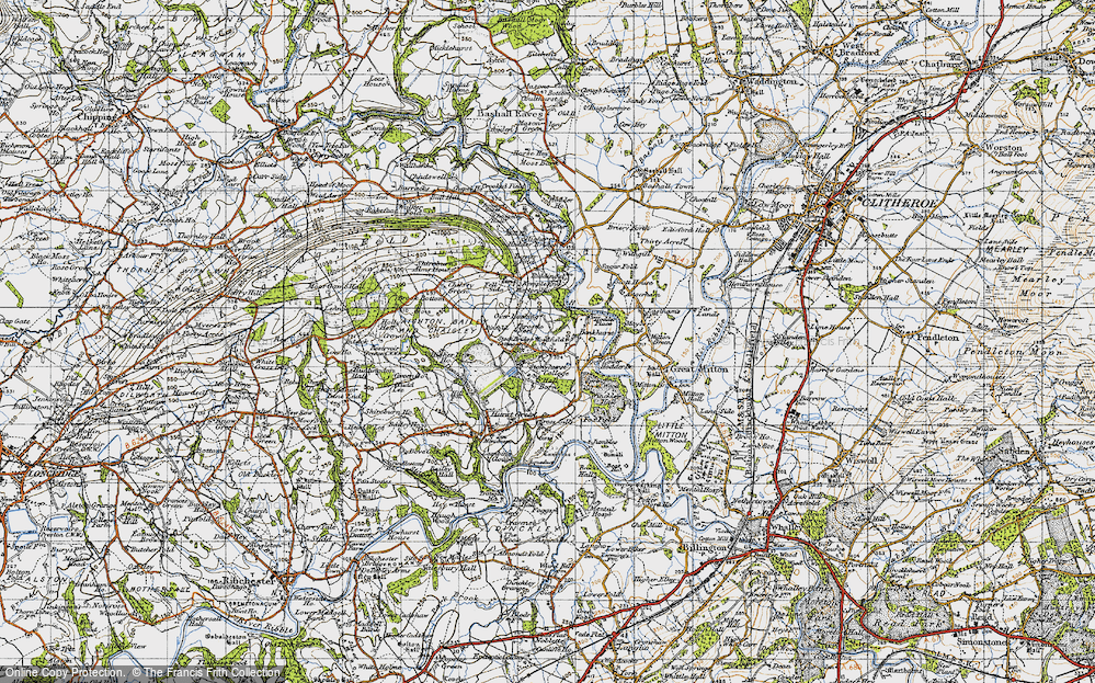 Old Map of Historic Map covering Woodfields in 1947