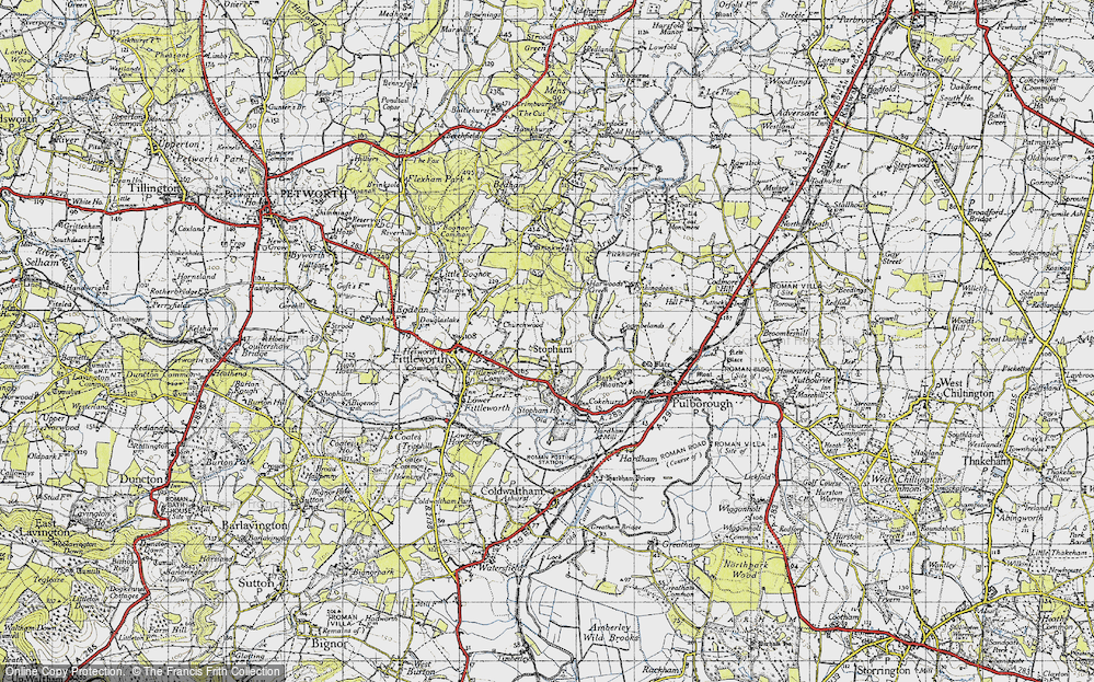 Old Map of Historic Map covering Stopham Ho in 1940