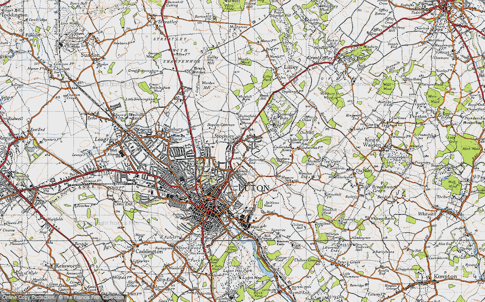 Old Map of Stopsley, 1946 in 1946