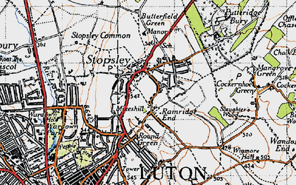 Old map of Stopsley in 1946