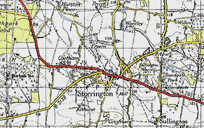 Old map of Storrington in 1940