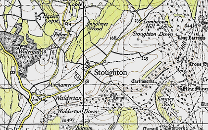 Old map of Stoughton in 1945