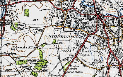 Old map of Stourbridge in 1947