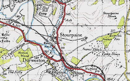 Old map of Stourpaine in 1945