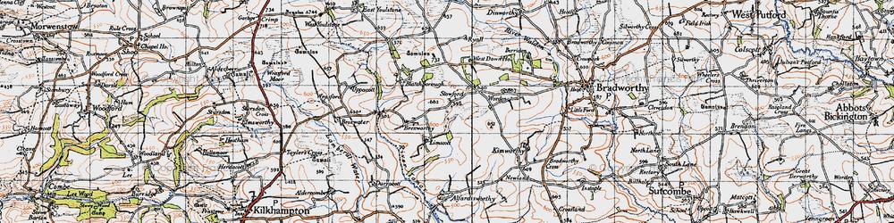 Old map of Worden in 1946