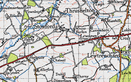 Old map of Wreys Barton in 1946