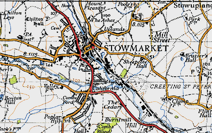 Old map of Stowmarket in 1946