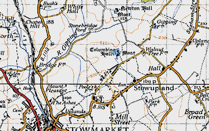 Old map of Stowupland in 1946
